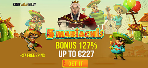 FIRST DEPOSIT BONUS - 127% Bonus up to €227 + 27 Free Spins on Habanero's awesome 5 Mariachis slot!