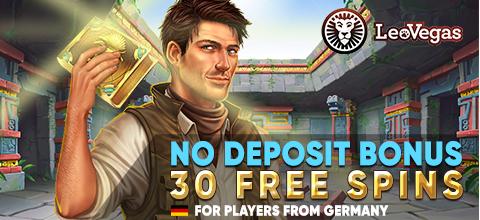 No deposit bonus — 30 free spins for registration at LeoVegas Casino