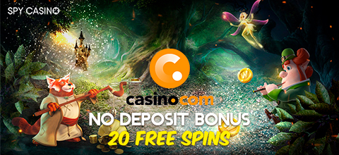 Receive a no deposit bonus at Casino.com - 20 free spins on the slot: Age of the Gods.