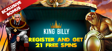 Sign up bonus - 21 FS from King Billy casino on a popular NetEnt game
