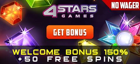 Welcome Bonus at 4StarsGames Casino up to 150% + 50 Free Spins